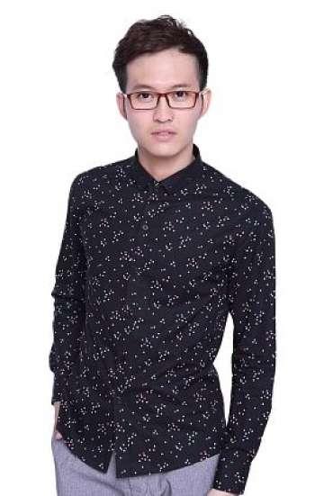 Đồng phục áo sơ mi công sở tay dài màu đen in họa tiết