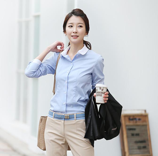 Đồng phục áo sơ mi công sở tay dài màu xanh da trời