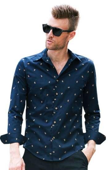 Đồng phục áo sơ mi công sở tay dài màu xanh in họa tiết