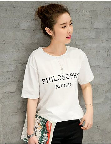 Đồng phục áo thun tay ngắn cổ tròn màu trắng in hình dễ thương