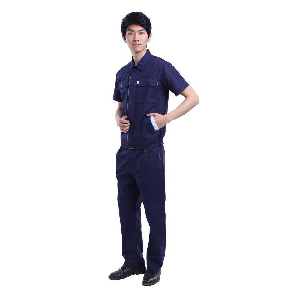 Đồng phục bảo hộ cao cấp tay ngắn màu xanh