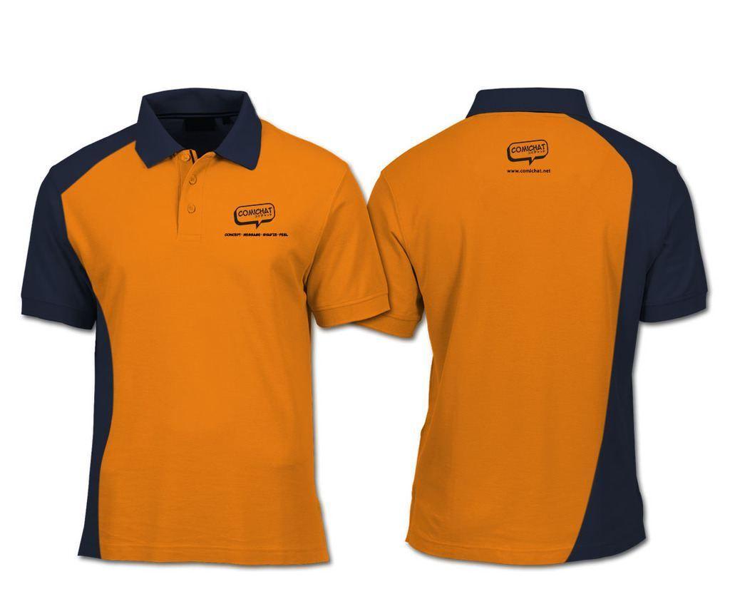 Áo thun đồng phục quảng cáo cao cấp cổ trụ tay ngắn màu cam đen