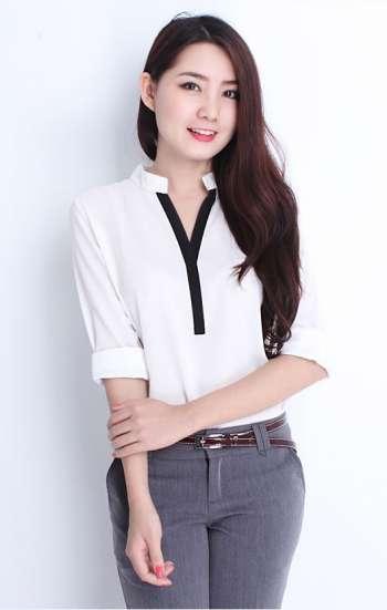 Đồng phục công sở áo sơ mi nữ cao cấp cổ cách điệu màu trắng đen