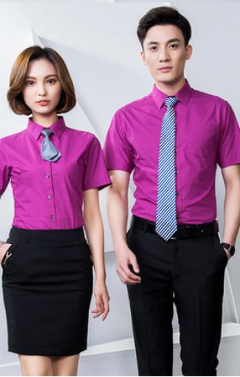 Đồng phục công sở áo sơ mi nam nữ cao cấp tay ngắn màu tím kèm cà vạt