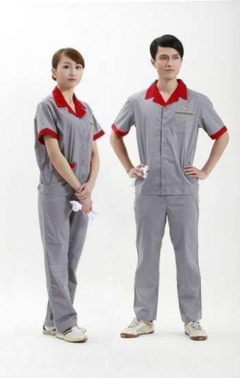 Đồng phục bảo hộ cao cấp tay ngắn phối màu xám đỏ