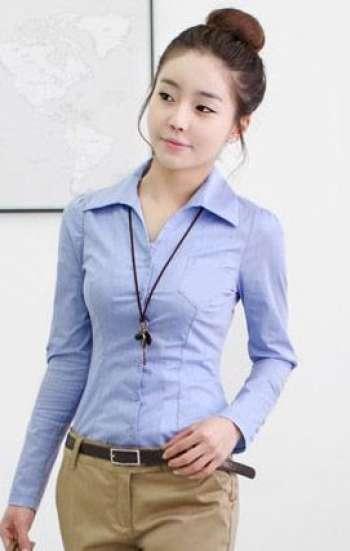 Đồng phục công sở áo sơ mi nữ cao cấp tay dài kẻ sọc xanh