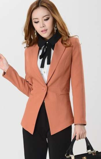 Đồng phục công sở áo vest nữ cao cấp màu cam nhạt