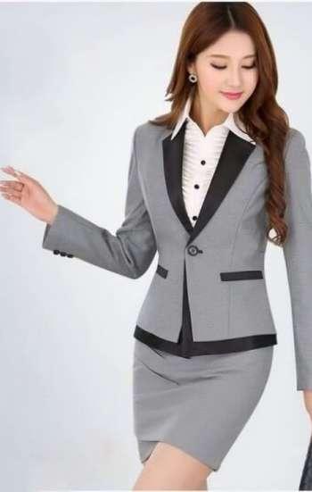 Đồng phục công sở áo vest nữ cao cấp phối màu xám đen