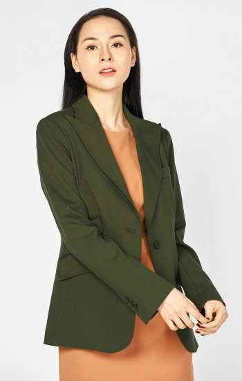 Đồng phục công sở áo vest nữ cao cấp màu xanh rêu