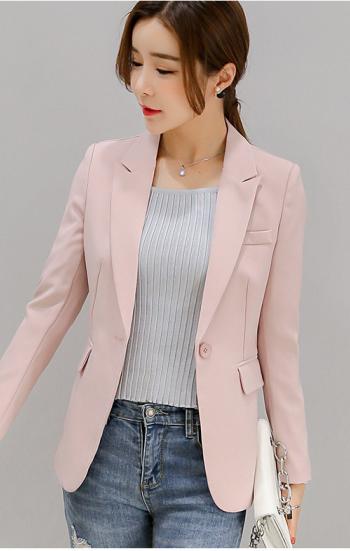 Đồng phục công sở áo vest nữ màu hồng nhạt