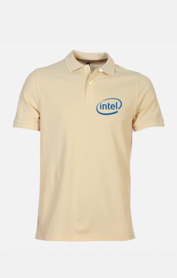 Áo thun đồng phục tay ngắn cổ trụ màu vàng INTEL