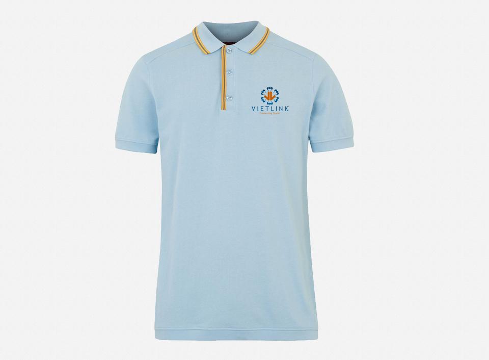 Áo thun đồng phục tay ngắn cổ trụ màu xanh dương VIETLINK