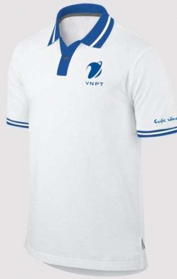 Áo thun đồng phục tay ngắn cổ trụ phối màu trắng xanh VNPT