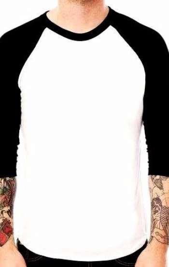 Áo thun đồng phục Raglan tay ngắn cổ tròn phối màu trắng đen