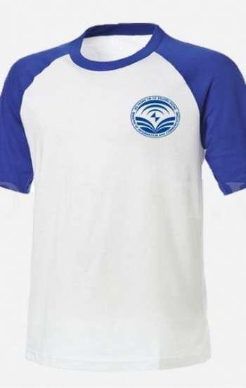 Áo thun đồng phục Raglan tay ngắn cổ tròn phối màu trắng xanh có logo