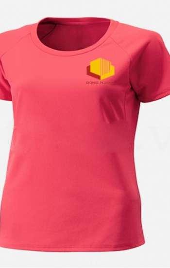 Áo thun đồng phục tay ngắn cổ tròn màu hồng phấn