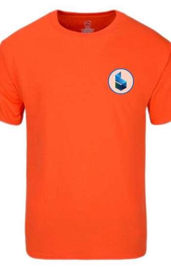 Áo thun đồng phục tay ngắn cổ tròn màu cam in logo