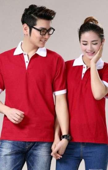 Áo thun đồng phục tay ngắn cổ trụ phối màu đỏ trắng