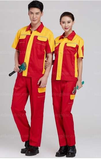 Đồng phục bảo hộ lao động cao cấp tay ngắn phối màu đỏ vàng