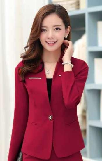 Đồng phục công sở áo vest nữ cao cấp màu đỏ