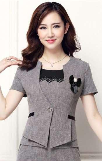Đồng phục công sở áo vest nữ cao cấp tay ngắn màu xám