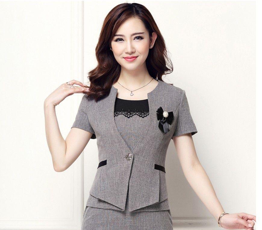 Đồng phục công sở áo vest nữ cao cấp tay ngắn màu xám | May đồng ...