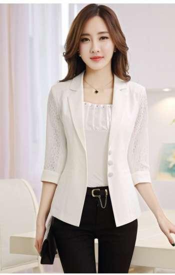 Đồng phục công sở áo vest nữ cao cấp màu trắng