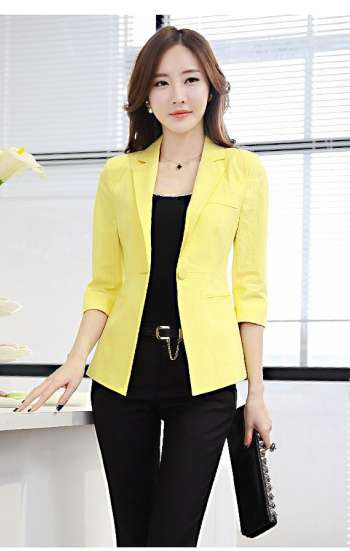 Đồng phục công sở áo vest nữ cao cấp màu vàng chanh