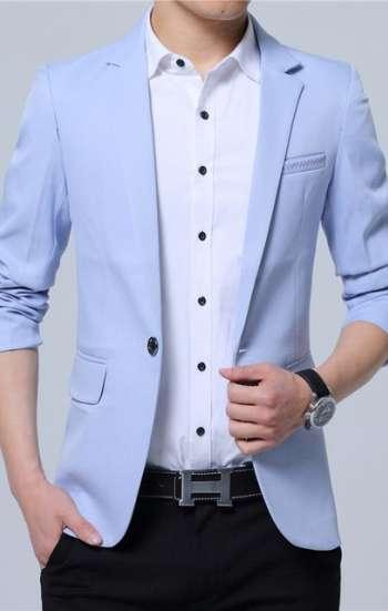 Đồng phục công sở áo vest nam cao cấp màu xanh dương pastel