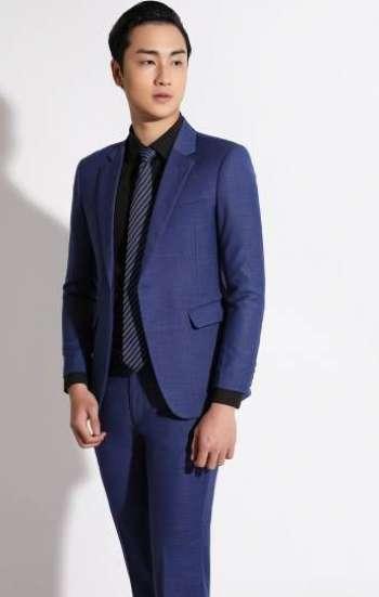 Đồng phục công sở áo vest nam cao cấp màu xanh biển