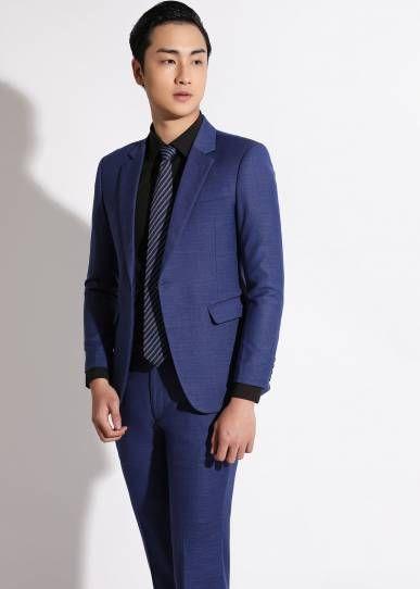 Đồng phục công sở áo vest nam cao cấp màu xanh biển | May đồng phục Việt