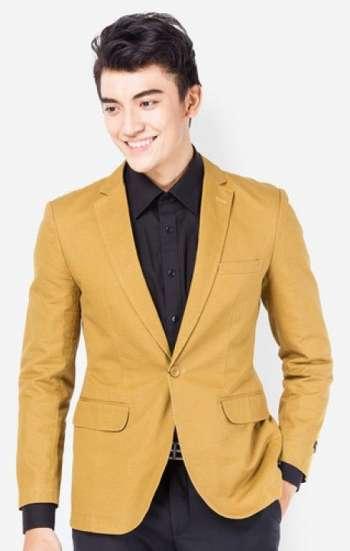 Đồng phục công sở áo vest nam cao cấp màu vàng