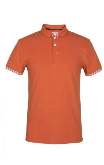 Đồng phục áo thun cổ trụ tay ngắn màu cam có bo tay