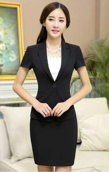Đồng phục công sở vest nữ cao cấp màu đen kèm chân váy
