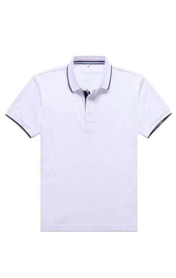Mẫu áo thun đồng phục cổ trụ vải cá sấu màu trắng