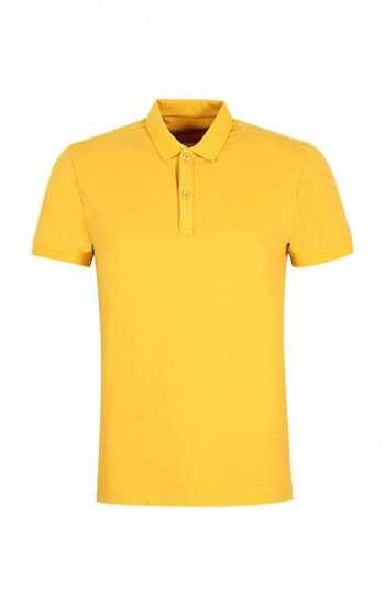 Mẫu áo thun đồng phục cổ trụ màu vàng