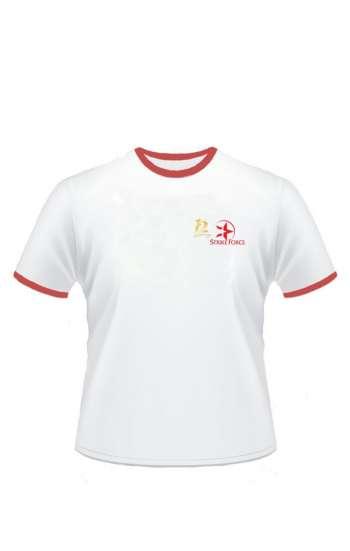 Mẫu áo thun đồng phục cổ tròn màu trắng viền cổ và tay màu đỏ