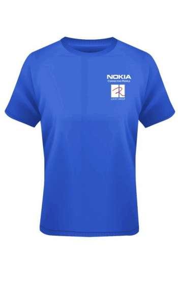 Mẫu áo thun đồng phục cổ tròn màu xanh dương Nokia