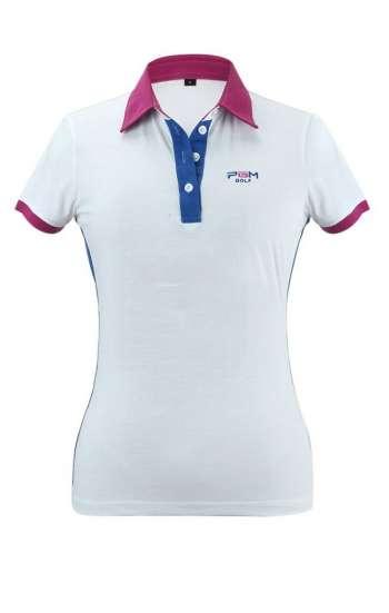 Áo thun đồng phục vải cá sấu form nữ màu trắng hồng