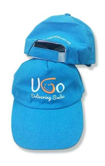 Mẫu nón đồng phục quà tặng màu xanh dương logo in
