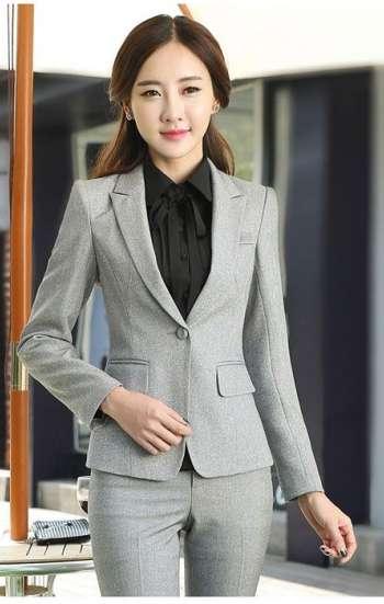 đồng phục công sở vest nữ màu xám cao cấp