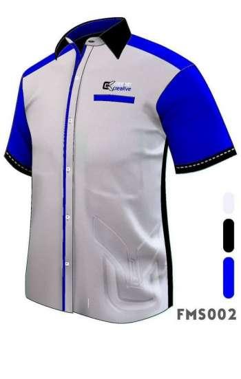 Đồng phục sơ mi tay ngắn màu trắng phối xanh dương