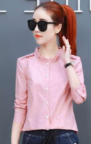 Đồng phục công sở áo sơ mi nữ cao cấp màu hồng tay dài phối bèo