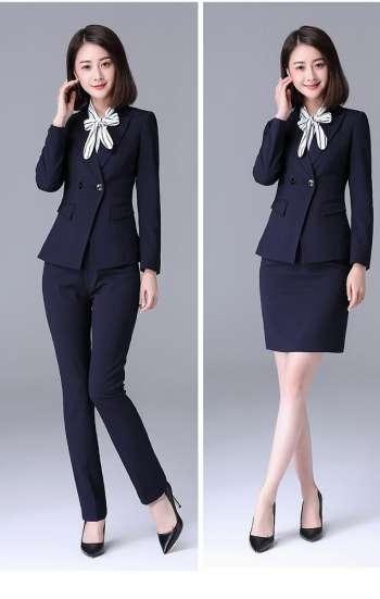 Đồng phục công sở vest nữ cao cấp màu xanh đen kèm chân váy hoặc quần âu