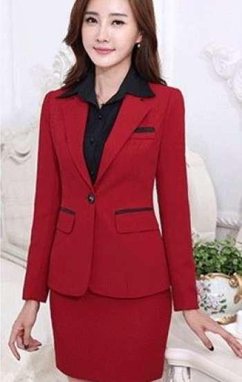 Đồng phục công sở vest nữ màu đỏ cao cấp kèm chân váy
