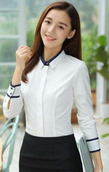 Đồng phục công sở áo sơ mi nữ cao cấp màu trắng cổ và tay áo viền xanh đen
