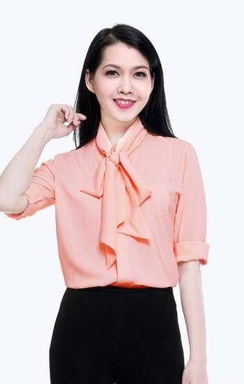 Đồng phục công sở sơ mi nữ cao cấp màu cam sữa nhạt tay dài cổ cách điệu