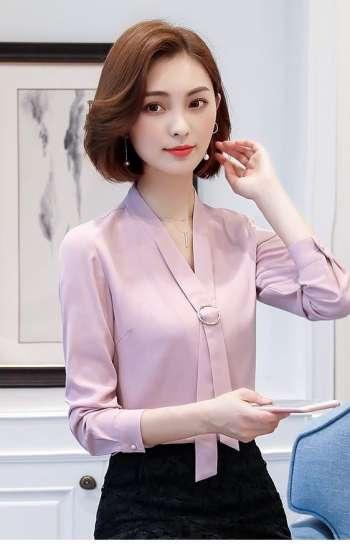 Đồng phục công sở sơ mi nữ cao cấp màu hồng tím tay dài cổ cách điệu