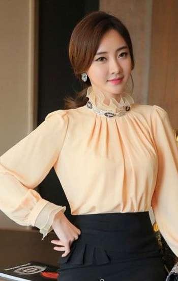 Đồng phục công sở nữ cao cấp tay dài màu cam sữa cổ và tay phối ren