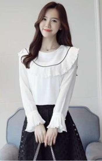 Đồng phục công sở sơ mi nữ cao cấp màu trắng tay dài cổ và tay phối bèo